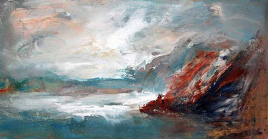 Rough Sea Chilly Day - Original Oil Painting by Steve Slimm - Artist Steve Slimm - Online Gallery