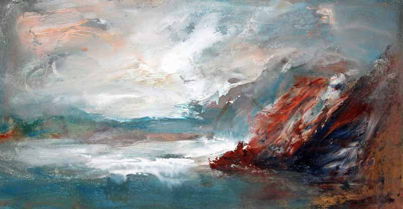 Rough Sea Chilly Day - Original Oil Painting by Steve Slimm