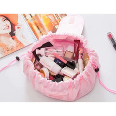 drawstring make up bag mat pink