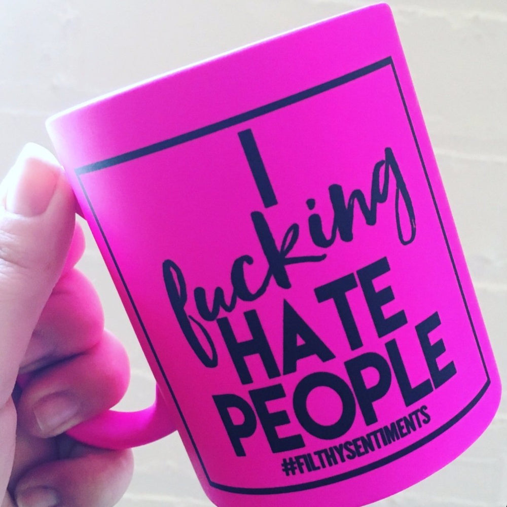 Load image into Gallery viewer, I Fucking Hate People Neon Mug