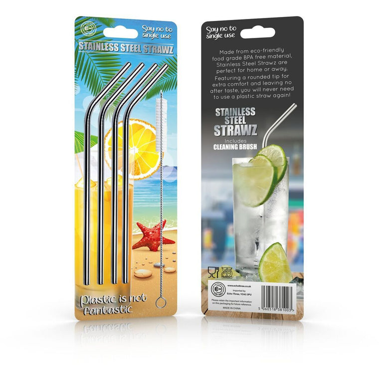 Silver Stainless Steel Reusable Straws