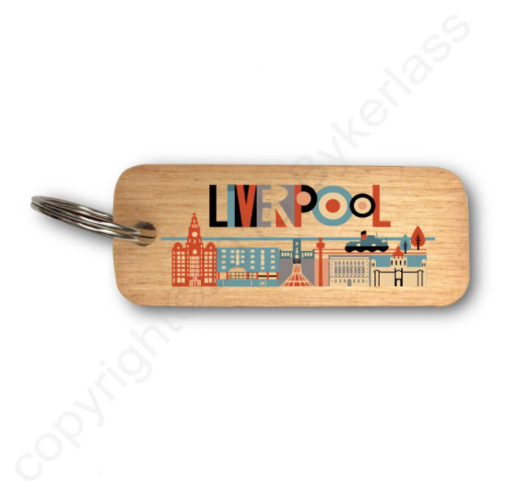 Scouse City Bright Liverpool Wooden Keyring