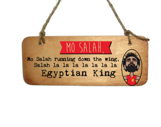 Mo Salah (running down the wing) Wooden Sign