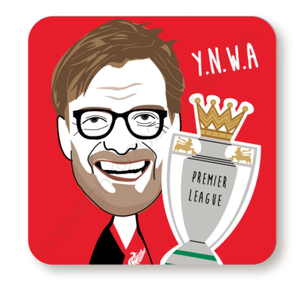 Load image into Gallery viewer, Jurgen Klopp Trophy Red Cork Backed Coaster