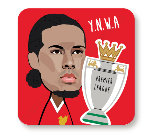 Virgil Van Dijk YNWA Cork Backed Red Coaster