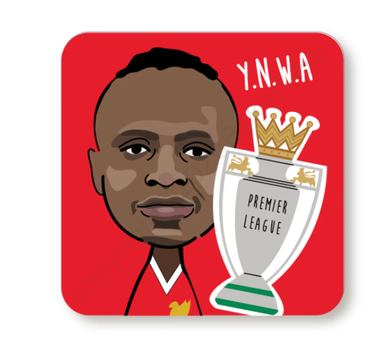 Sadio Mane YNWA Red Cork Backed Coaster