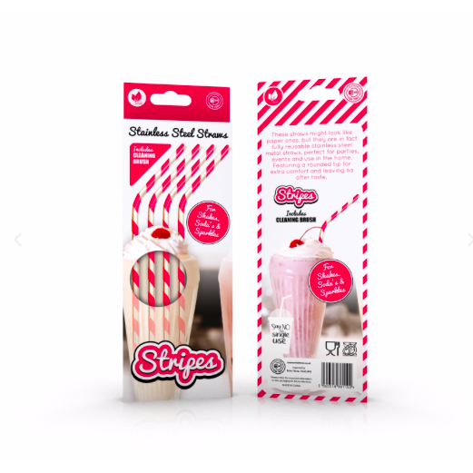 Striped Stainless Steel Reusable Strawz