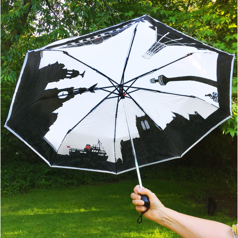 liverpool umbrella fold away skyline weather rain england city novelty