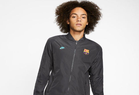 NIKE FC BARCELONA MENS REVERSIBLE JACKET - DARK SMOKE GREY/CABANA