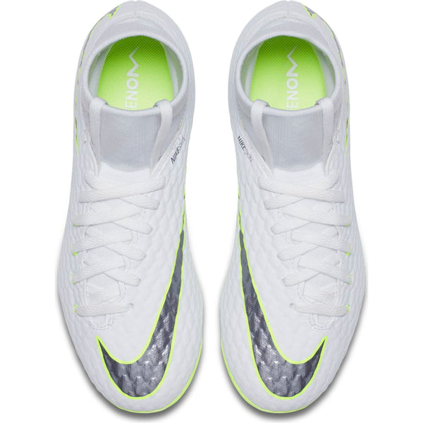 Nike Hypervenom Jr Phantom 3 Academy DF FG - White/ Metallic Cool Grey/ Volt
