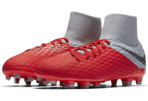 Nike Jr Hypervenom Phantom 3 Academy DF FG - Light Crimson/ Metallic Dark Grey/ Wolf Grey