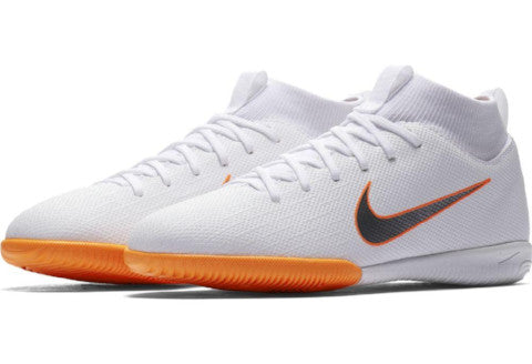 quality design 8a015 2cb33 Nike Mercurial Jr SuperflyX 6 Academy GS IC - White/ Metallic Cool Grey/  Total Orange