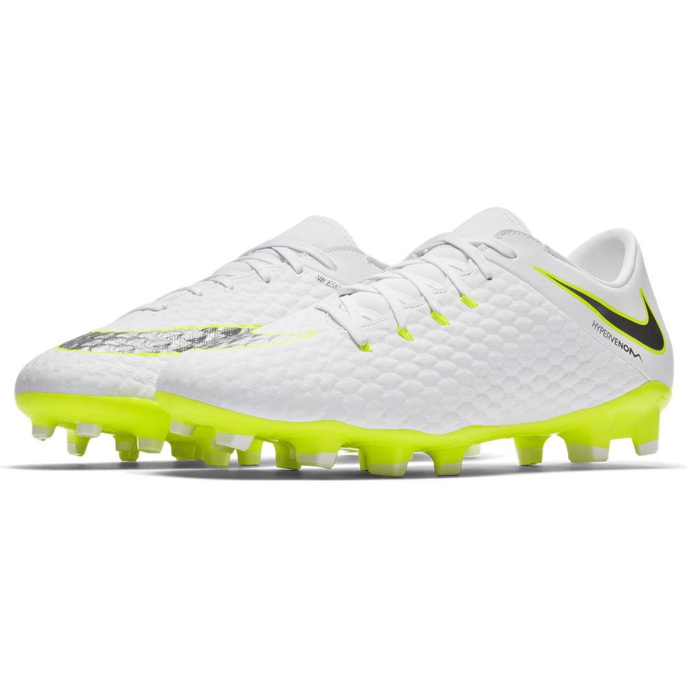 outlet store abdec b92b8 Nike Hypervenom Phantom 3 Academy FG - White/ Metallic Cool Grey/ Volt