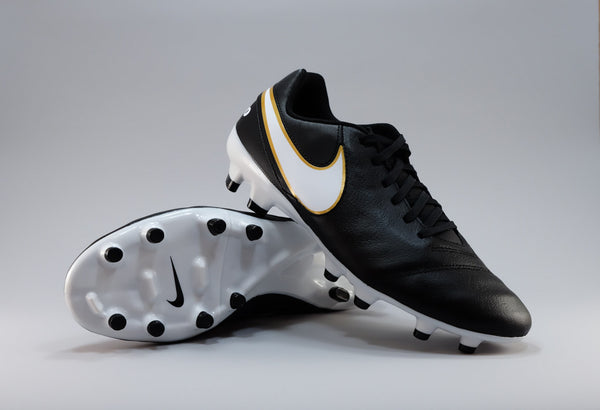 nike tiempo genio leather 2 fg black white gold