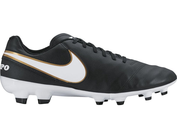 nike tiempo genio leather 2 fg black white gold side