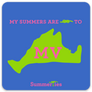 My Summers are Tied to Martha's Vineyard Sticker - Pink and Green on Blue - SummerTies