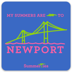My Summers are Tied to Newport Sticker - Bridge - Pink and Green on Blue