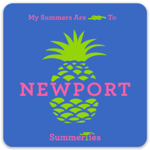 My Summers are Tied to Newport Sticker - Pineapple - Pink and Green on Blue