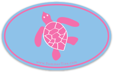 Turtle Sticker - Pink on Light Blue