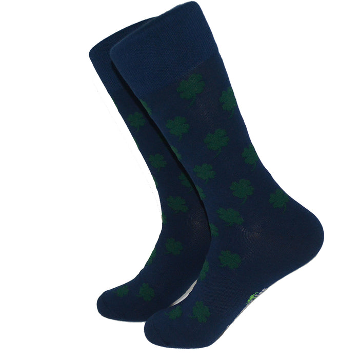 4 Leaf Clover Green on Navy Socks - Men's Mid Calf - SummerTies