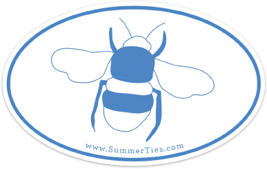 Bee Sticker - Blue on White - SummerTies