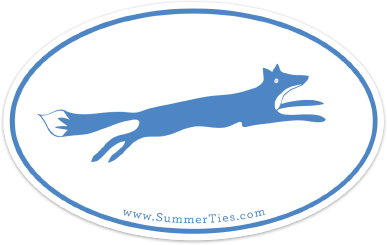 Fox Sticker - Blue on White - SummerTies