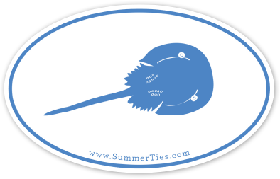 Horseshoe Crab Sticker - Blue on White - SummerTies
