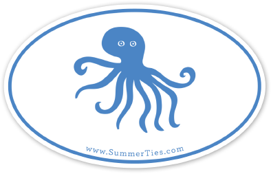 Octopus Sticker - Blue on White