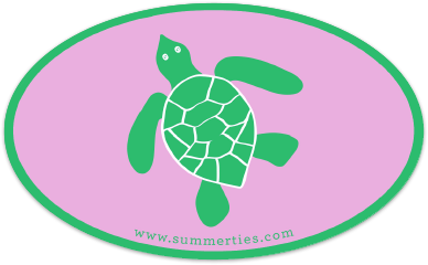 Turtle Sticker - Green on Pink - SummerTies