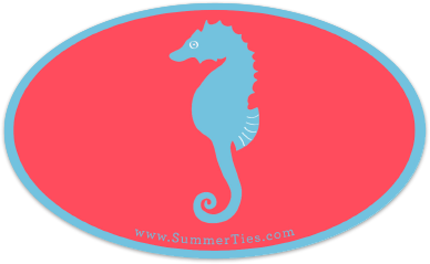 Seahorse Sticker - Blue on Coral - SummerTies