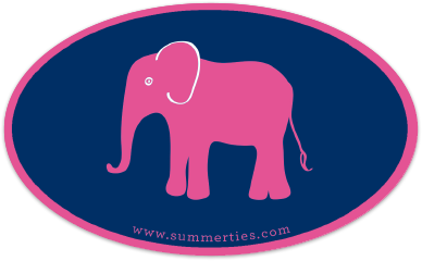 Elephant Sticker - Pink on Navy - SummerTies