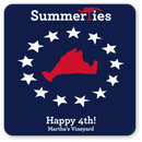 Martha's Vineyard Happy 4th Sticker - Red, White, and Blue - SummerTies