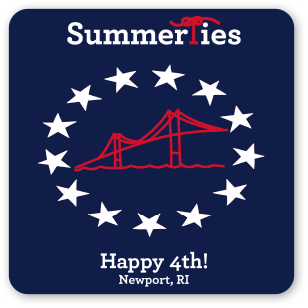 Newport Happy 4th Sticker - Red, White, and Blue