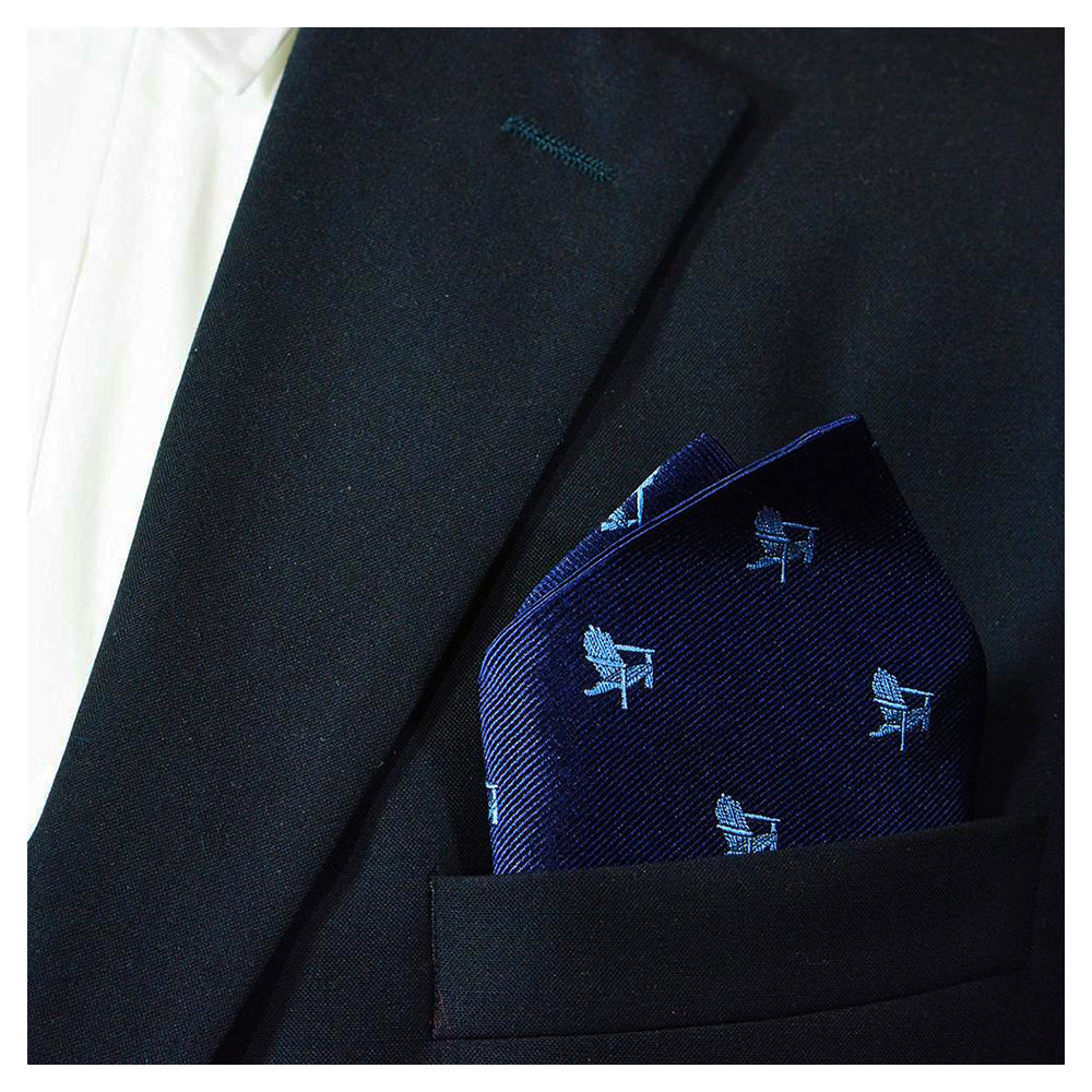Adirondack Chair Pocket Square - Navy, Woven Silk - SummerTies