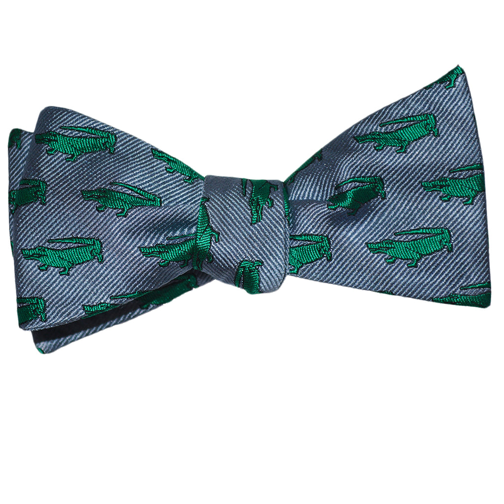 Alligator Bow Tie - Gray, Woven Silk - SummerTies