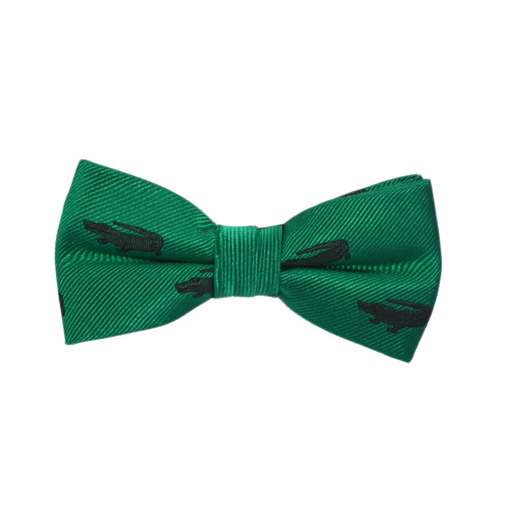 b5e576c7c6e1 Alligator Bow Tie - Green, Woven Silk, Pre-Tied for Kids - SummerTies