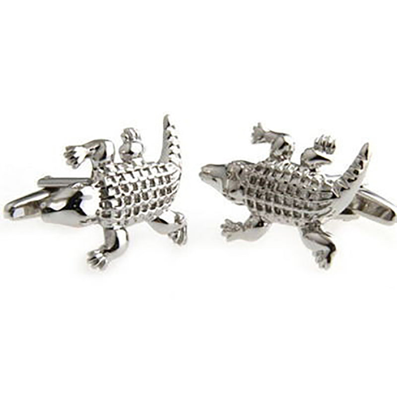 Alligator Cufflinks - 3D, Silver - SummerTies