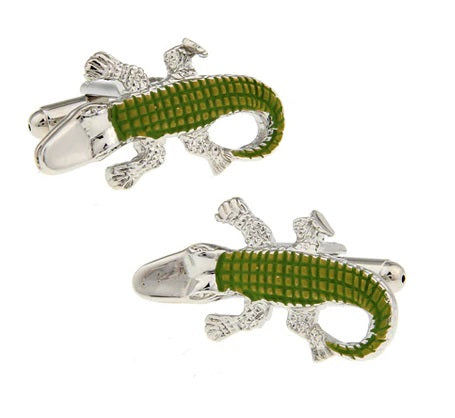 Alligator Cufflinks - 3D, Silver & Green - SummerTies