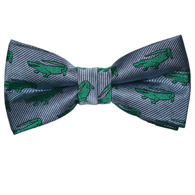 Alligator Bow Tie - Gray, Woven Silk, Pre-Tied for Kids - SummerTies