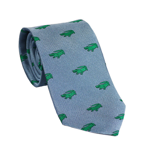 Alligator Necktie - Grey, Woven Silk - SummerTies