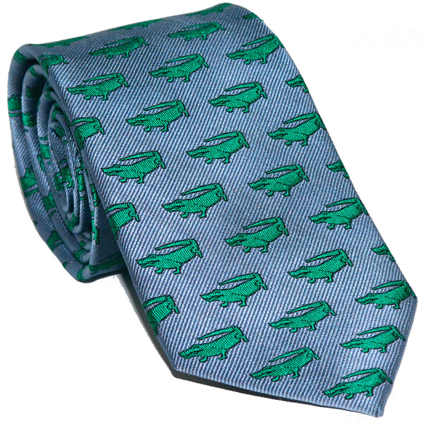 Alligator Necktie - Gray, Woven Silk - SummerTies