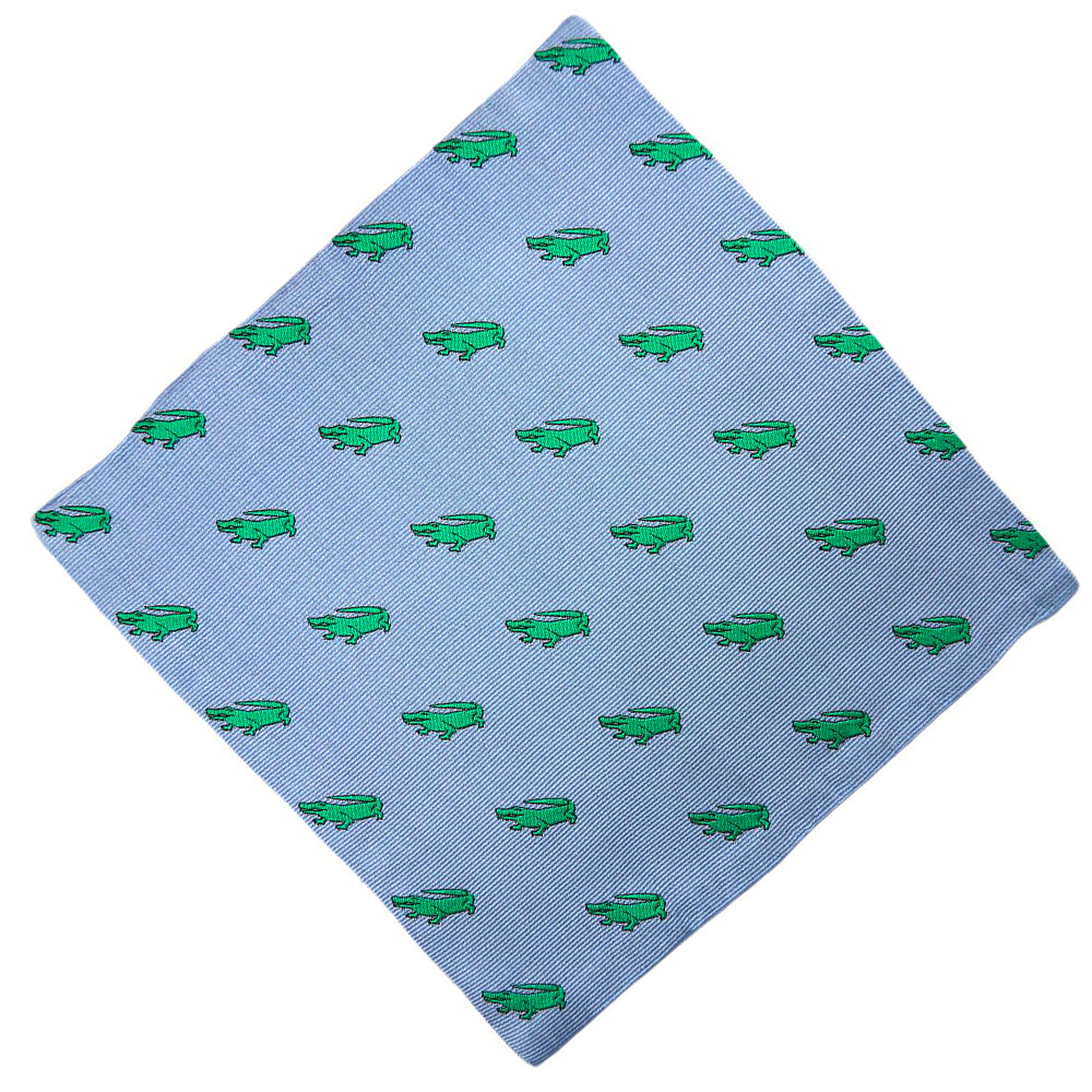 Alligator Pocket Square - Grey - SummerTies