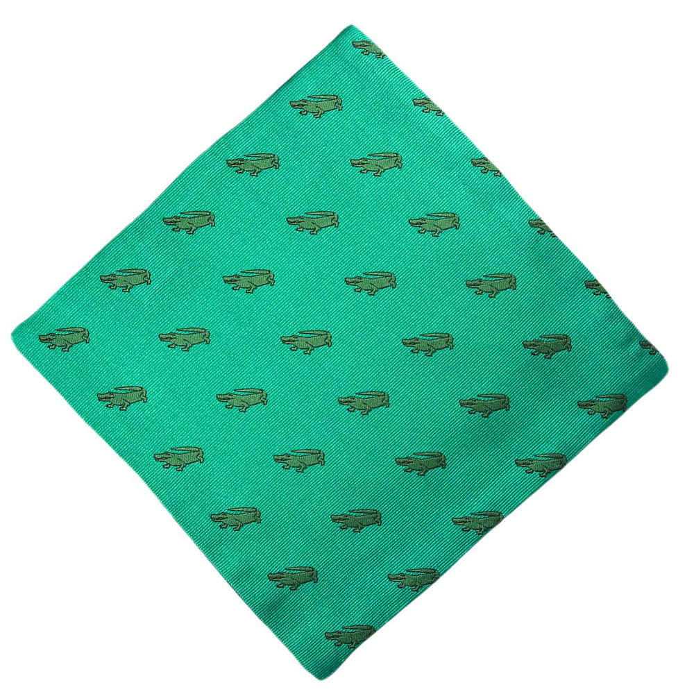 Alligator Pocket Square - Green - SummerTies