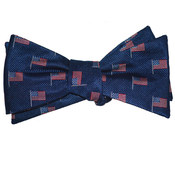 American Flag Bow Tie - Navy, Woven Silk - SummerTies