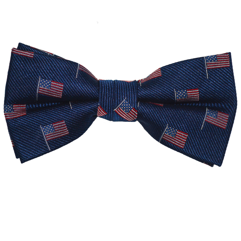 American Flag Bow Tie - Navy, Woven Silk, Pre-Tied for Kids - SummerTies