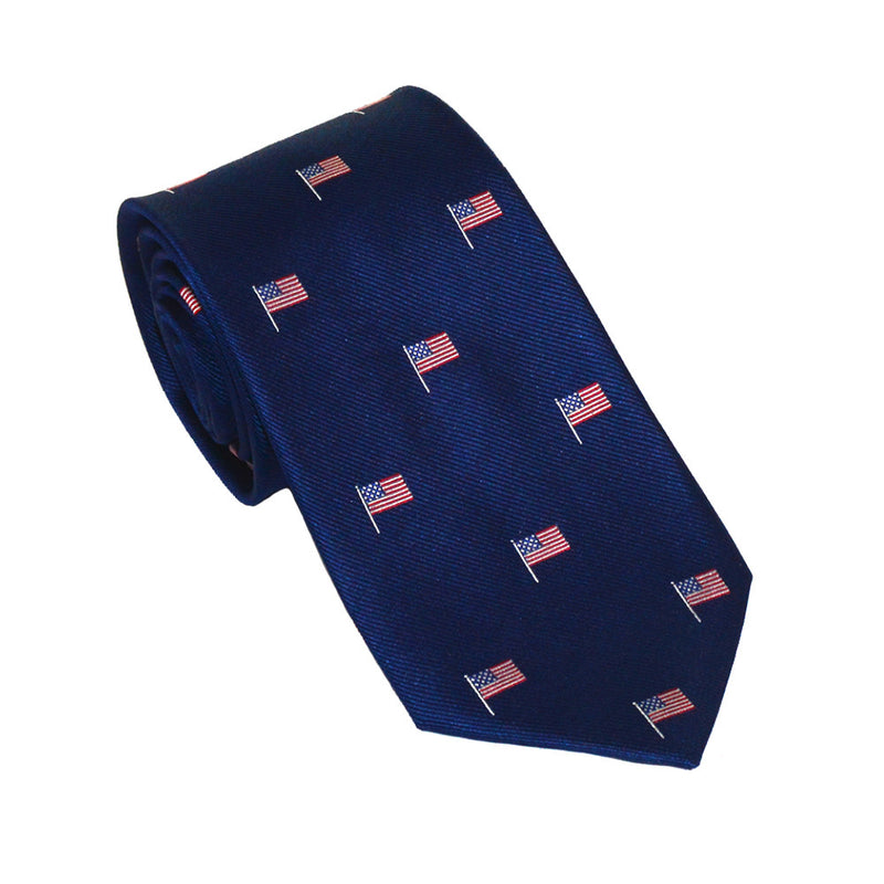 American Flag Necktie - Red White and Blue on Navy, Woven Silk - Spread - SummerTies