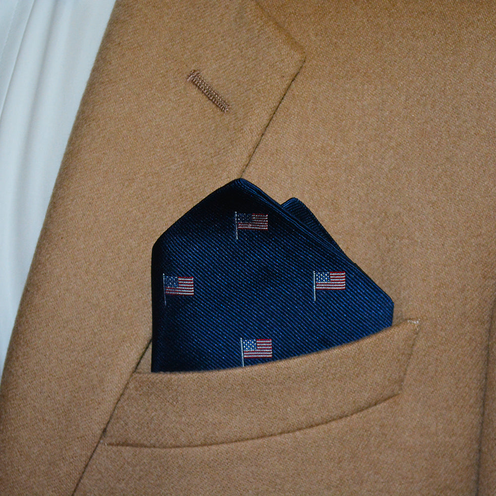 American Flag Pocket Square - Navy, Woven Silk - SummerTies
