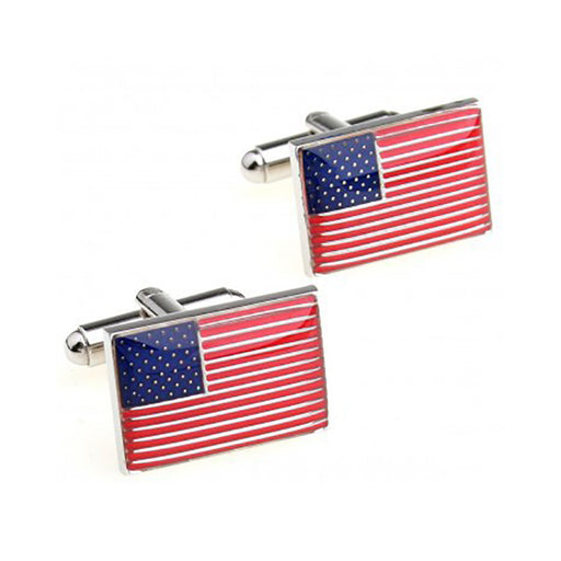 American Flag Cufflinks - 3D, Red-White-Blue - SummerTies