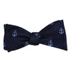 Anchor Bow Tie - Blue on Navy, Woven Silk - SummerTies