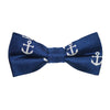 Anchor Bow Tie - White on Navy, Printed Silk, Pre-Tied for Kids